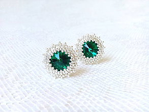 Náušnice - Emerald miracle II. (Rhodium earrings / Swarovski crystal) - 8349146_
