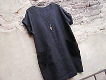 Šaty - Černé lněné šaty - 8348522_