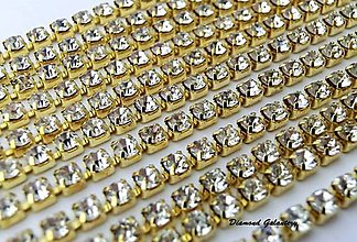 Komponenty - Štrasová borta - 2,5 mm - Crystal na zlatom - 8349469_