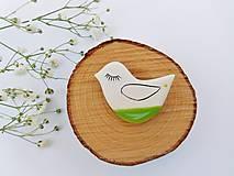 Odznaky/Brošne - brošňa zelený vtáčik - 8349617_