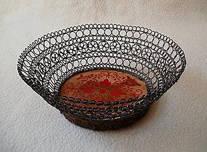 Dekorácie - Drôtená miska Červený ornament - 8348894_