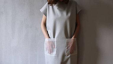 Šaty - Oversized šaty s transparentnými vreckami - 8349191_