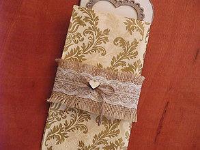 Úžitkový textil - Jutový obal na príbor, servítku s mašľou a srdcom - 8349709_