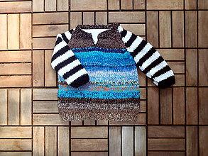 Detské oblečenie - Hnedý melírovaný svetrík s čb rukávmi - 8350469_