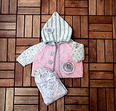 Detské oblečenie - Svetrík pepermintovo-ružový - 8350630_