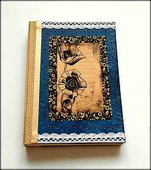 Papiernictvo - Ručne šitý scrapbookový diár/zápisník ,,Wild poppy\