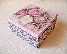 Krabičky - Drevená krabička Kytica ruží - 8350548_