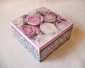 Krabičky - Drevená krabička Kytica ruží - 8350555_