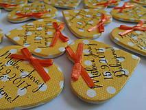 Darčeky pre svadobčanov - žlté svadobné magnetky s mašličkami - 8350478_