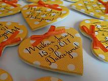 Darčeky pre svadobčanov - žlté svadobné magnetky s mašličkami - 8350479_