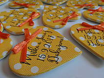 Darčeky pre svadobčanov - žlté svadobné magnetky s mašličkami - 8350480_