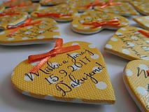 Darčeky pre svadobčanov - žlté svadobné magnetky s mašličkami - 8350481_