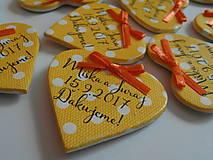 Darčeky pre svadobčanov - žlté svadobné magnetky s mašličkami - 8350496_