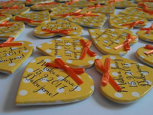 žlté svadobné magnetky s mašličkami