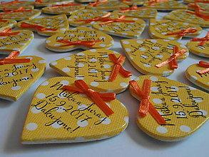 Darčeky pre svadobčanov - žlté svadobné magnetky s mašličkami - 8350497_