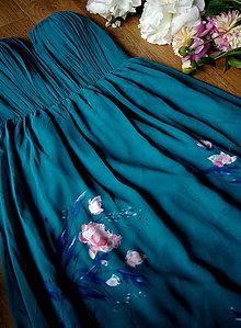 Šaty - Ručne maľované  tyrkysovo zelené šaty - 8351814_