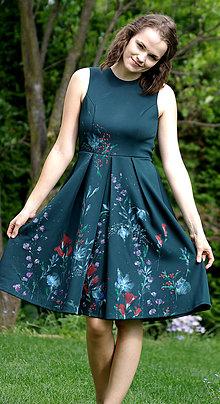 Šaty - Ručne maľované nádherné tmavozelené šaty - 8351943_