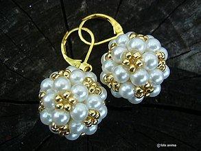 Náušnice - Zlato-biele bublinky - 8351199_