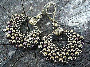 Náušnice - Vejáriky s bronzovými korálkami - 8351301_