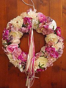 Dekorácie - Veľký cykl., pink, ivory a biely veniec 45cm - 8350017_