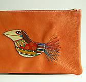 Taštičky - Oranžová vrána - kožená taštička - 8350545_
