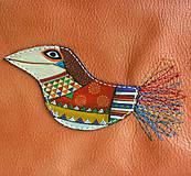 Taštičky - Oranžová vrána - kožená taštička - 8350546_