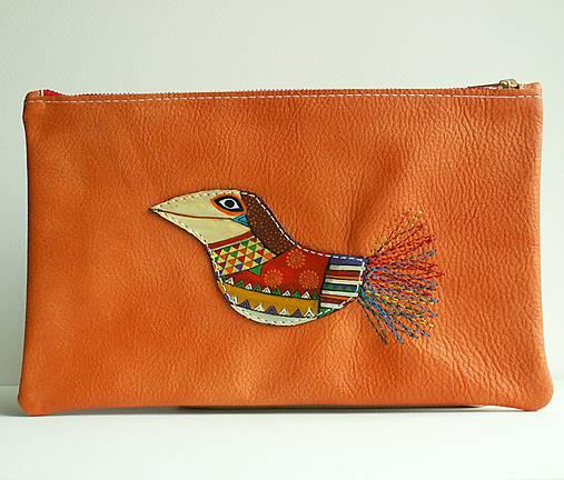 Oranžová vrána - kožená taštička