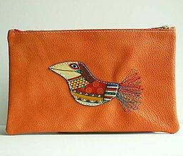 Taštičky - Oranžová vrána - kožená taštička - 8350544_
