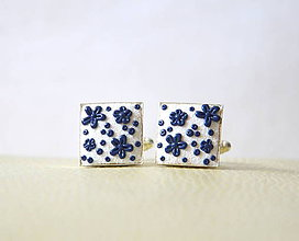 Šperky - Folk manžetové gombíky - bielo-modré - 8354968_