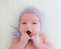 Detské čiapky - Čepček na fotenie i bežné nosenie LILA - 8352235_