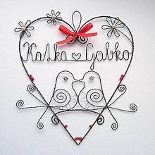 Dekorácie - mladomanželom - svadobné srdce ❤ 20cm - 8354417_
