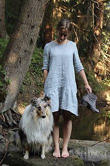 Šaty - Ľanové šaty s volánikom  (Ružová) - 8354304_