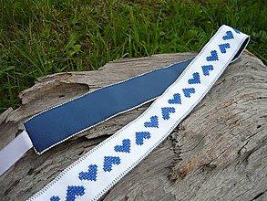 Opasky - Opasok FOLK bielo-modrý srdiečkový - 8355228_