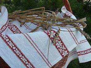 Úžitkový textil - Obrúsok Čerevená výšivka v pruhoch - 8352872_