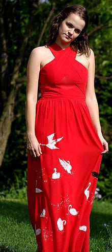 Šaty - Ručne maľované  červené šaty - 8352108_