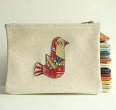 Taštičky - Ptáček červený - kožená taštička - 8354978_