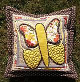 Úžitkový textil - Krajina divých kvetov - motýľ - žlté prevedenie - 8355350_
