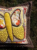 Úžitkový textil - Krajina divých kvetov - motýľ - žlté prevedenie - 8355353_