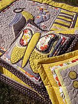 Úžitkový textil - Krajina divých kvetov - motýľ - žlté prevedenie - 8355354_