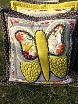 Úžitkový textil - Krajina divých kvetov - motýľ - žlté prevedenie - 8355357_
