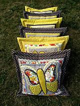 Úžitkový textil - Krajina divých kvetov - motýľ - žlté prevedenie - 8355358_