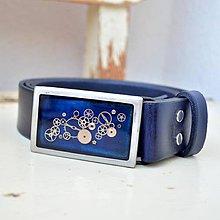 Opasky - Modrý kožený Steampunkový pásek ,hranatá spona - 8358942_