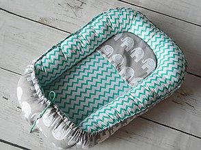Textil - Hniezdo pre bábätko mentolový chevron so sivým sloníkom - 8357824_