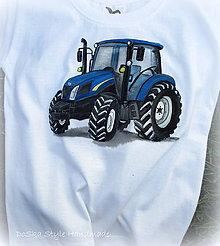 Detské oblečenie - Maľovaný traktor modrý - 8356921_