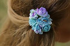 Ozdoby do vlasov - Kvetinová sponka - Modré more - 8359213_