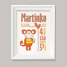Grafika - Oranžová opička s banánom a údaje o narodení detský obraz - 8357483_