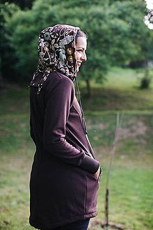 Mikiny - Dámsky nosičský kabátik čokoládový s kvetmi - 8355575_