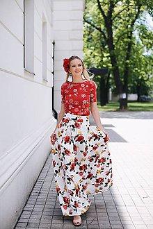 Topy - Elegantné tričko na dojčenie červené s kvetmi - 8355602_