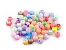 - Plastové korálky 6mm, 90ks - farebný mix  - 8355920_