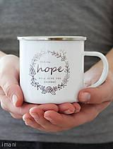 Nádoby - Smaltovaný hrnček HOPE - 8357631_